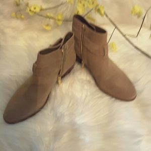 Michael kors genuine suede slip on boot with gold